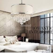 Bedroom Chandeliers Modern Trendy White Lampshade Chandelier K9 Crystal Lamp Bedroom