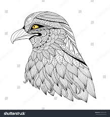 detail zentangle eagle coloring page tattoo stock vector 324073178