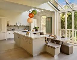 Kitchen Island Bench Designs Skylight Lighting Ideas Sleek White Kitchen Island Plus Leather
