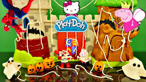play doh haunted house decorating spiderman frozen olaf peppa pig