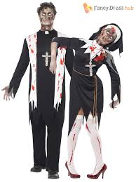halloween zombie costume mens ladies zombie bloody nun vicar priest halloween fancy dress