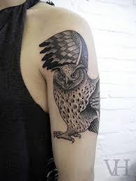 Owl Shoulder - owl by valentin hirsch shoulder arm tattoos