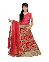 chigy whigy pink color embroidered net semi stitched kids lehenga