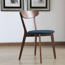 Danish Mid Century Dining Chairs by Henrik Solid Walnut Dining Chair Midnight Blue Fabric Seat