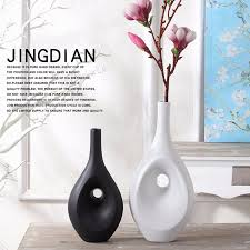 Pure Home Decor Flower Vase Home Decor Contemporary Black White Ceramic Vase Set