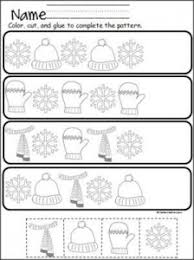 free winter cut and paste pattern practice fichas de trabalho
