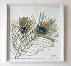 peacock feathers painting textured string art wall hanging in