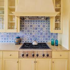 kitchen backsplash ideas with white cabinets houzz 75 beautiful mediterranean kitchen with blue backsplash