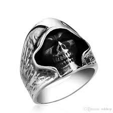 skull finger rings images Cool black death skull 316l stainless steel ring for man unique jpg