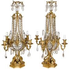 Candelabra Light Fixtures Pair Of Antique French Louis Xvi Style Gilt Bronze And Crystal