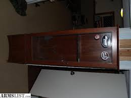 11 wood gun cabinet with deer etched glass signs truck