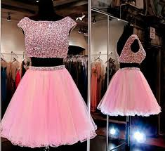pink homecoming dress 2 piece homecoming dresses beading