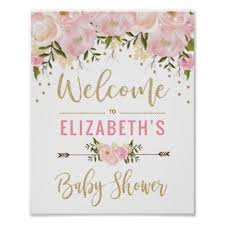 baby shower welcome sign pink ruffle pearls ethnic girl baby shower poster zazzle