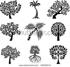 collection decorative trees stock vector 260508749