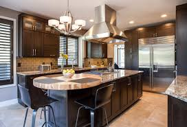 photo gallery jm kitchen and bath eat in kitchen island dark wood cabinet kitchen with large stainless steel oven hood