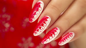 christmas gel nail art two tone swirl christmas gel nails and