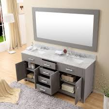 Bathroom Vanities With Top by Daston 72 Inch Gray Double Sink Bathroom Vanity Carrara White