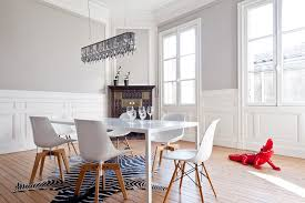zebra hide rug dining room modern with black armchairs built in