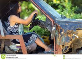 rusty car driving woman driving damaged car stock image image of ruined 67711873