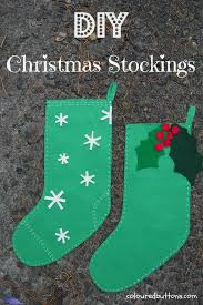 a fun christmas stocking kids can sew coloured buttons