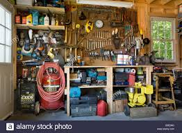 a neat well organized garage usa stock photo royalty free image
