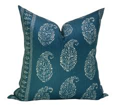 kashmir paisley pillow cover in tea peacock on both sides