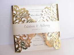laser cut wedding invitation gold foil wedding invite lace