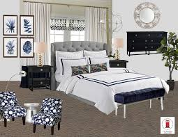 navy white and gray transitional master bedroom room by interior