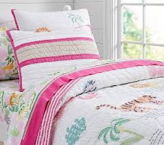 Girls Quilted Bedding by Jungle Safari Quilt Pottery Barn Kids
