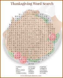 thanksgiving word search the typical