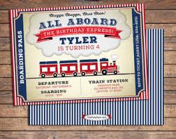 child u0027s train themed birthday invitation