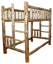 Rustic Pine Log Twin Over Twin Bunk Bed With Clear Varnish - Log bunk beds