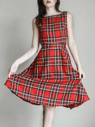 vintage dresses m vintage neck sleeveless plaid belted