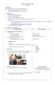 detailed lesson plan in english grade 10