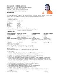 Teaching Resume Sample by Resume Example For Teacher Job Templates