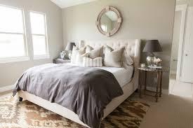 cream tufted headboard transitional bedroom alice lane home