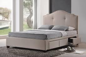 King Headboard With Storage Armeena Beige Linen Modern Storage Bed With Upholstered Headboard