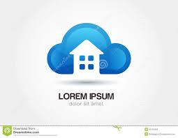 House Silhouette by Cloud Emblem With House Silhouette Abstract Vector Logo Icon Te