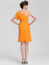 buy cheap knee length one shoulder chiffon orange bridesmaid dress