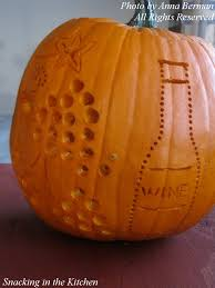 happy wine and grape carved and drilled pumpkin