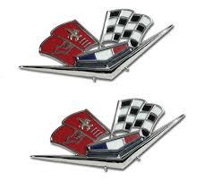 1963 corvette emblem c2 corvette 1963 replica front fender crossflags emblems pair