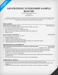 Internship Resume Sample For College Students by Download Advertising Internship Resume Haadyaooverbayresort Com