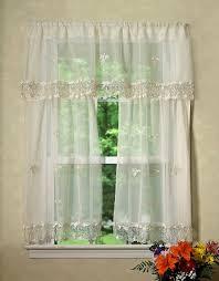 Kitchen Curtain Valance by Violet Linen Lima Sheer Kitchen Curtain Valance And Tier Set