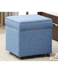 Blue Storage Ottoman Holiday Sale Iconic Home George Modern Blue Linen Square Storage