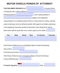 Georgia General Power Of Attorney by Motor Vehicle Power Of Attorney Forms Pdf Templates Power Of
