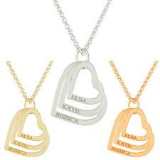 3 name necklace personalised 3 heart pendant engraved name necklace silver