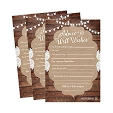 Advice To Bride And Groom Cards Amazon Com 50 4x6 Rustic Wedding Advice U0026 Well Wishes For The