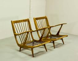 Mid Century Outdoor Chairs Mid Century Art Deco Influenced Spindle Back Lounge Chairs 1950s