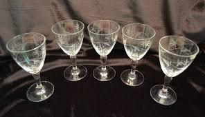 vintage cocktail set vintage set of 5 etched glass cocktail wine glasses bar ware leaf