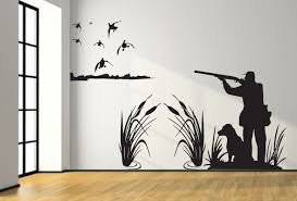 mallard duck hunting wall decal 8ft large hunter and dog duck zoom